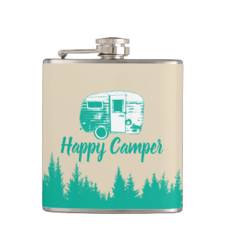 Camping Fun Happy Camper Rustic Forest Hip Flask