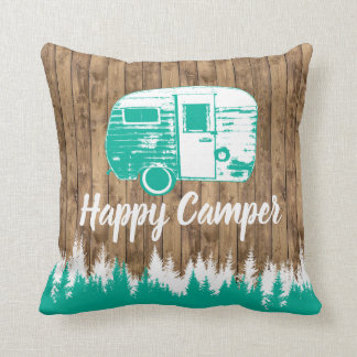 Camping Fun Happy Camper Rustic Forest Throw Pillow
