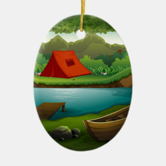 Camping ground ceramic oval ornament