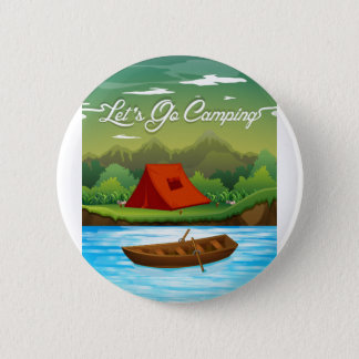 Camping ground with tent and boat 2 inch round button