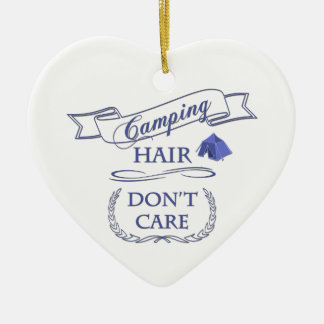 Camping Hair Don't Care Ceramic Ornament