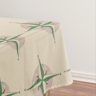 Camping Hiking Outdoor Summer Camp Compass Print Tablecloth