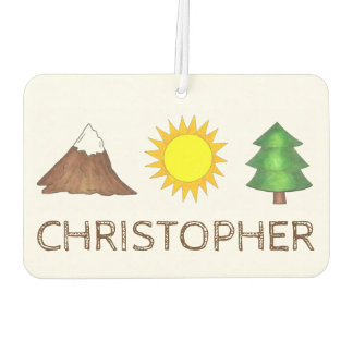 Camping Hiking Sun Mountain Tree Personalized Gift Air Freshener