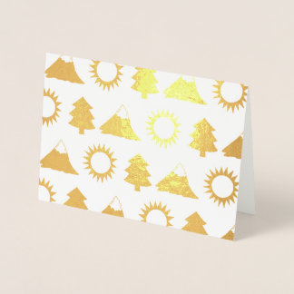 Camping Hiking Sun Mountain Tree Woods Outdoor Foil Card