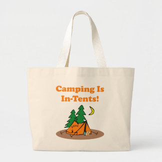 Camping In Tents Large Tote Bag