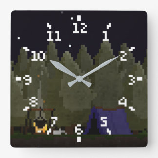 Camping in the Forest Pixel Art Clock