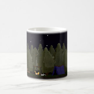 Camping in the Forest Pixel Art Coffee Mug