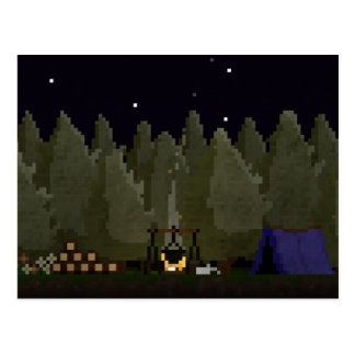 Camping in the Forest Pixel Art Postcard