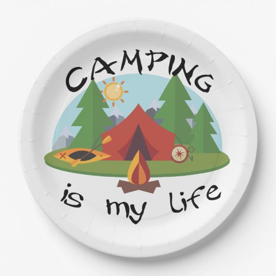 Camping is My Life Tent and Forest 9 Inch Paper Plate