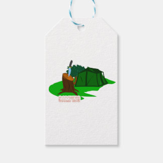 Camping knife and tent gift tags
