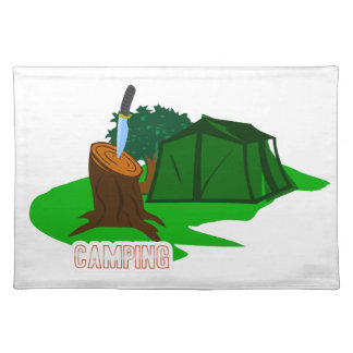 Camping knife and tent placemat