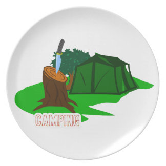 Camping knife and tent plates