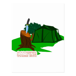 Camping knife and tent postcard