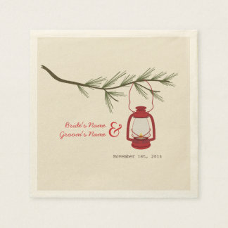Camping Lantern + Evergreen Tree Wedding Napkins Paper Napkin