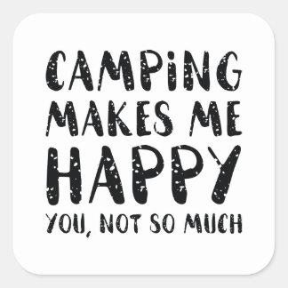 Camping Makes Me Happy Square Sticker