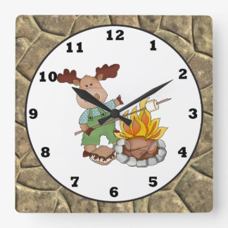 Camping Moose cartoon wall clock