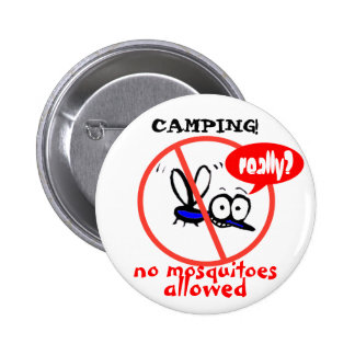 camping no mosquitoes funny humor cartoon 2 inch round button