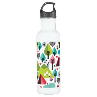 Camping pattern owl illustration 710 ml water bottle