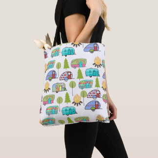 Camping Pattern Tote Bags