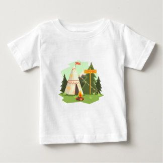 Camping Place With Bonfire, Wigwam And Forest Baby T-Shirt