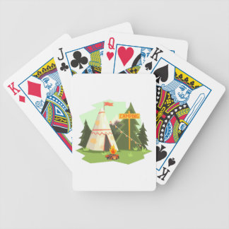 Camping Place With Bonfire, Wigwam And Forest Bicycle Playing Cards