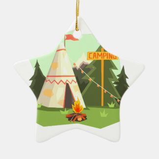 Camping Place With Bonfire, Wigwam And Forest Ceramic Ornament