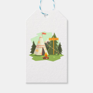 Camping Place With Bonfire, Wigwam And Forest Gift Tags