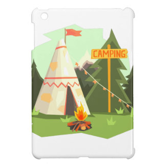 Camping Place With Bonfire, Wigwam And Forest iPad Mini Cover