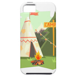 Camping Place With Bonfire, Wigwam And Forest iPhone 5 Covers