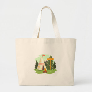 Camping Place With Bonfire, Wigwam And Forest Large Tote Bag