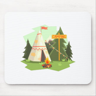 Camping Place With Bonfire, Wigwam And Forest Mouse Pad