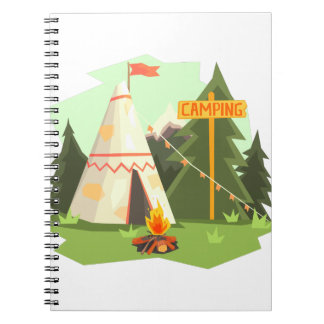 Camping Place With Bonfire, Wigwam And Forest Notebook