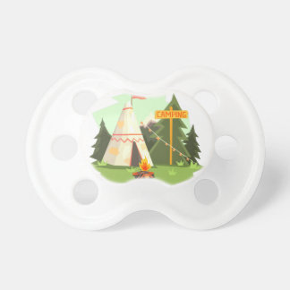 Camping Place With Bonfire, Wigwam And Forest Pacifier