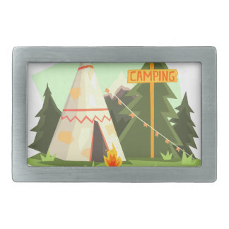 Camping Place With Bonfire, Wigwam And Forest Rectangular Belt Buckles