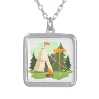 Camping Place With Bonfire, Wigwam And Forest Silver Plated Necklace