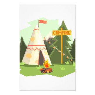 Camping Place With Bonfire, Wigwam And Forest Stationery