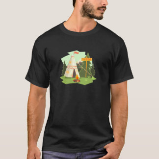 Camping Place With Bonfire, Wigwam And Forest T-Shirt