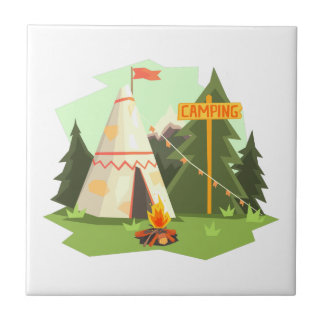 Camping Place With Bonfire, Wigwam And Forest Tile