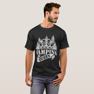 Camping Queen Cute Glamping Camper Distressed T-Shirt
