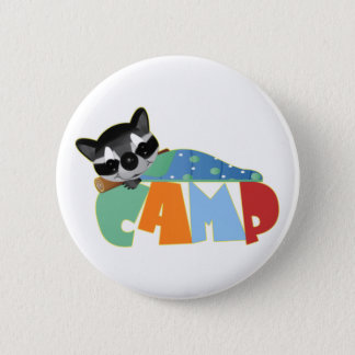 Camping Racoon 2 Inch Round Button