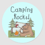Camping Rocks Round Stickers