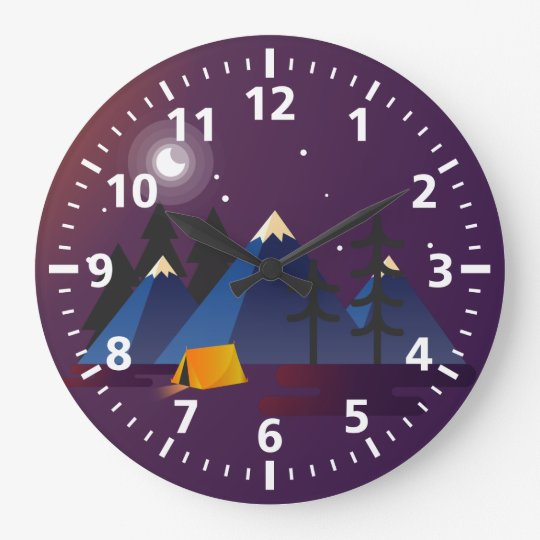 Camping Round (Large) Wall Clock