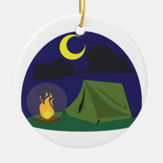 Camping Scene Ceramic Ornament