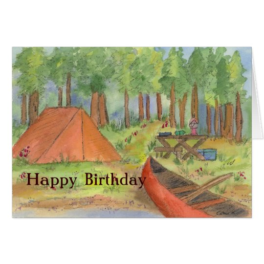 Camping Scene Happy Birthday Card