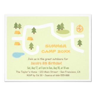 Camping Site Map Birthday Party Invitations
