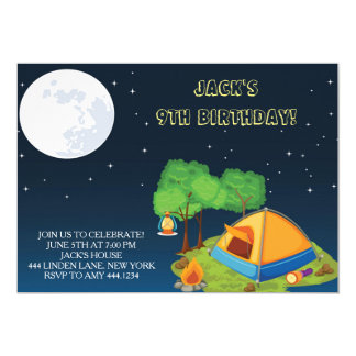 Camping Sleepover Birthday Party Invitations