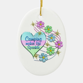 Camping Sparkles Ceramic Ornament