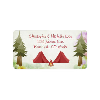 Camping, Tents, Campfire, Wilderness, Woodland Label