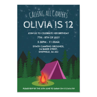 Camping themed birthday party invitation