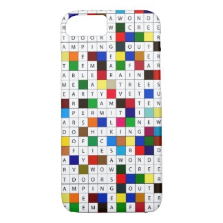 Camping Themed Crossword Design on iPhone 7 Case